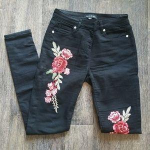 ASOS Black Embroidered Jeans Rose  Flower Floral